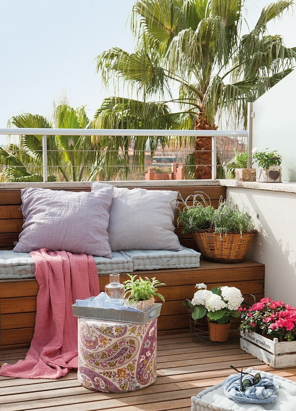 Small terraces with wooden benches
