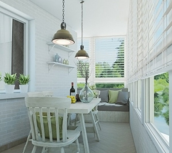 Small dining room in closed balcony