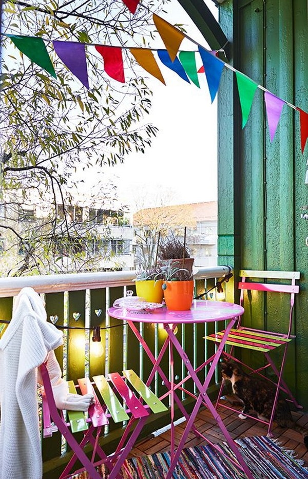 Colorful spring balcony