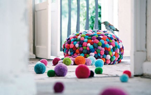 decorate with wool pompoms X