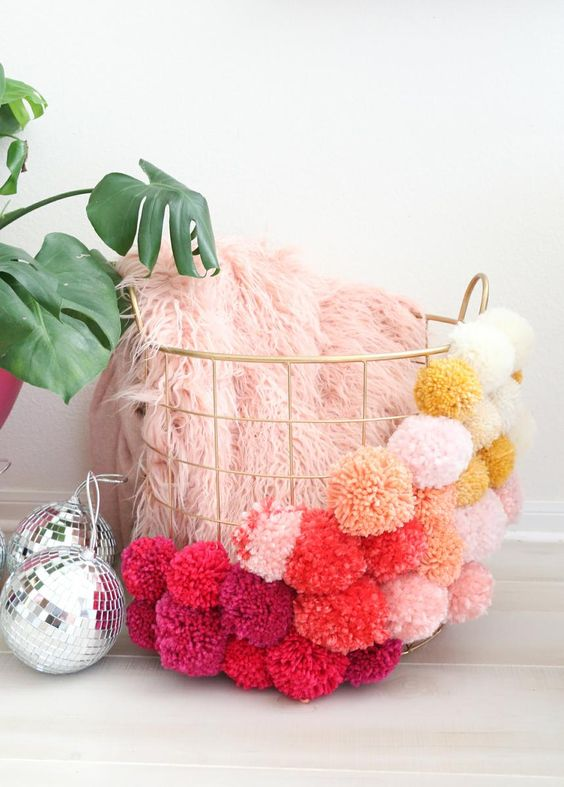 decorate with wool pompoms V