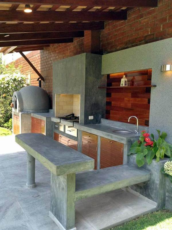 Concrete grill area