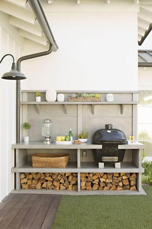 Grill with space to store firewood