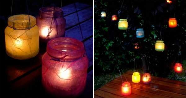 Lanterns with recycled bottles and silk paper