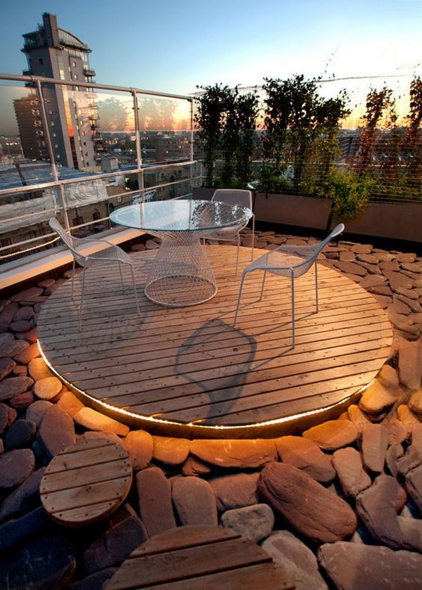 Wooden and stone floor on terrace