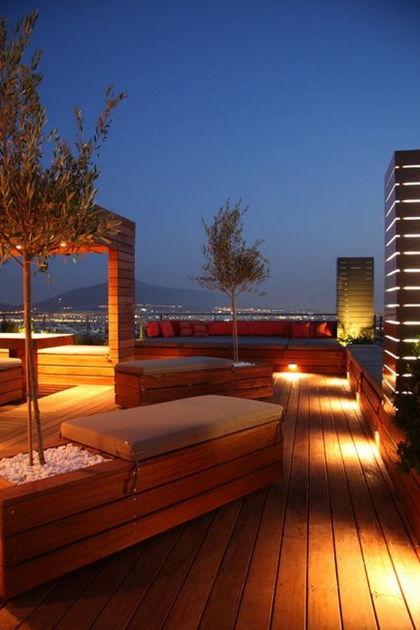 Wooden terrace with luminaires
