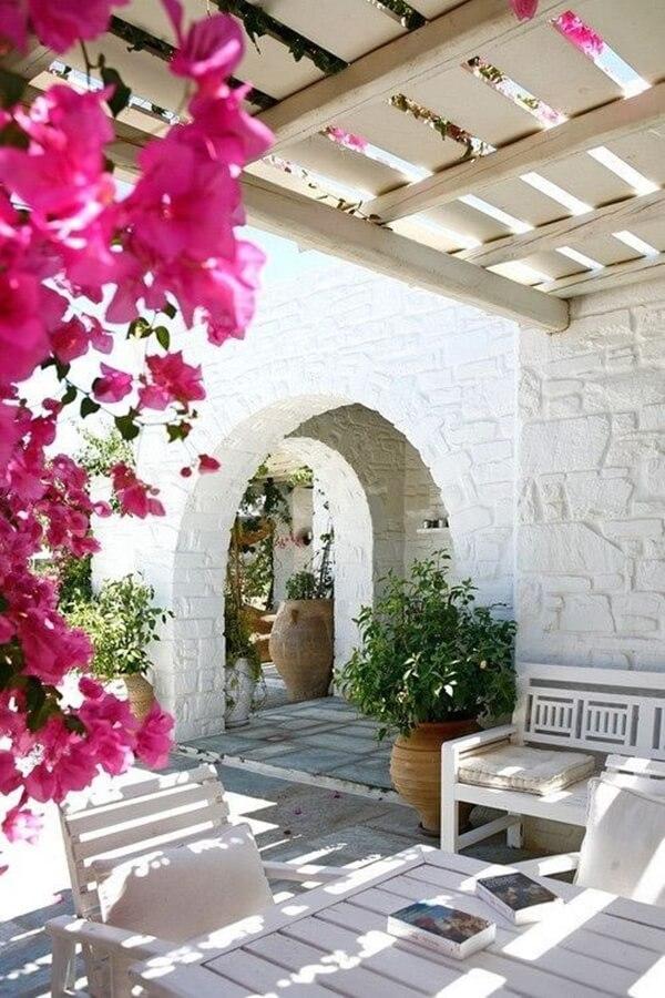 Buganvillas on a Mediterranean terrace