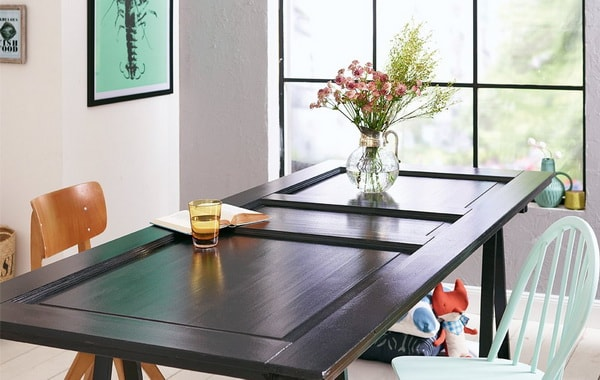 Table made with a recycled wood door
