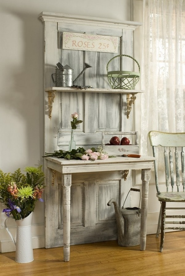 Foyer furniture with an old recycled door