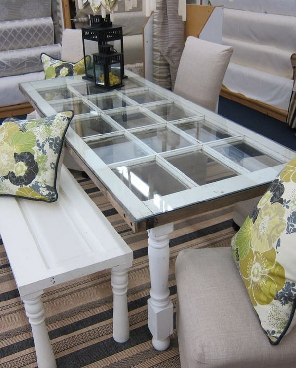 Reused table used as a coffee table