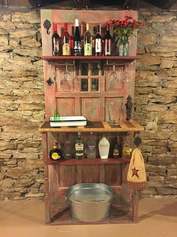 Bar furniture made with a recycled door
