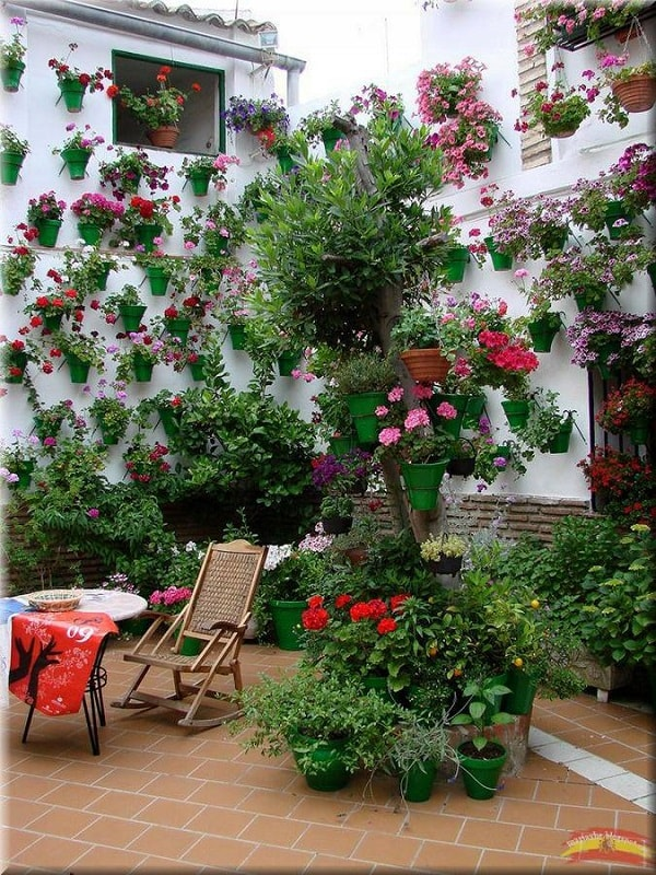 Andalusian courtyard full of flowers