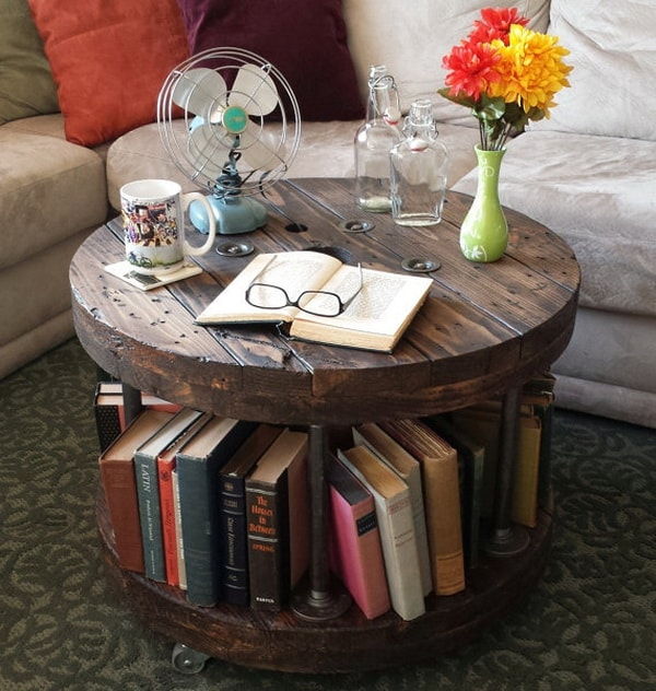 Auxiliary table library made with cable reels