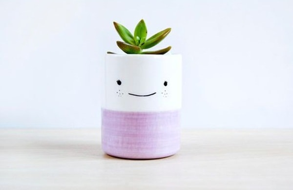 Homemade pots with smiles