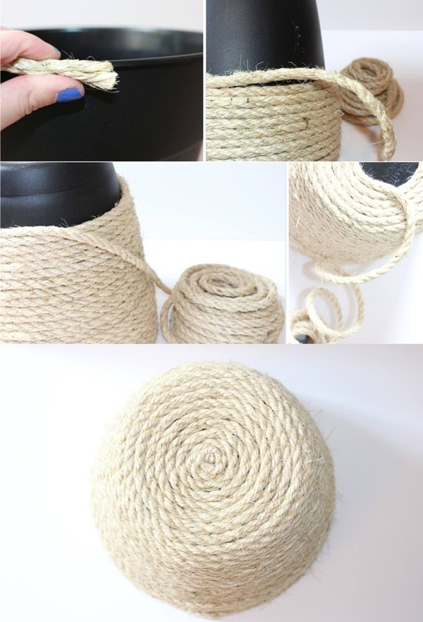 Pots decorated with rope