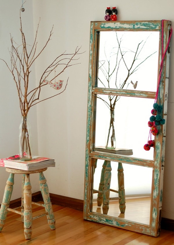 Mirror made with recycled door