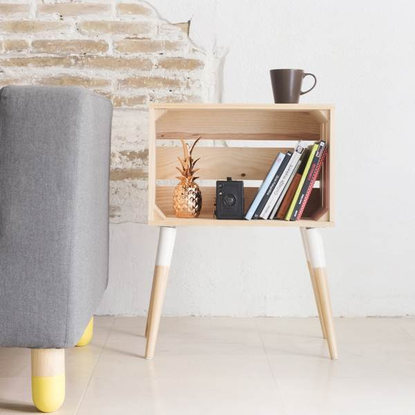 Side table with wooden box