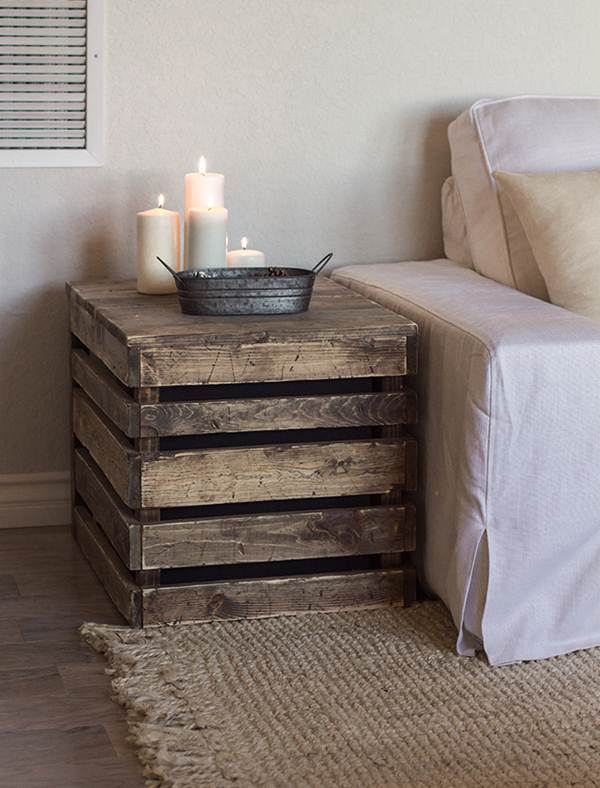 Wooden box as side table