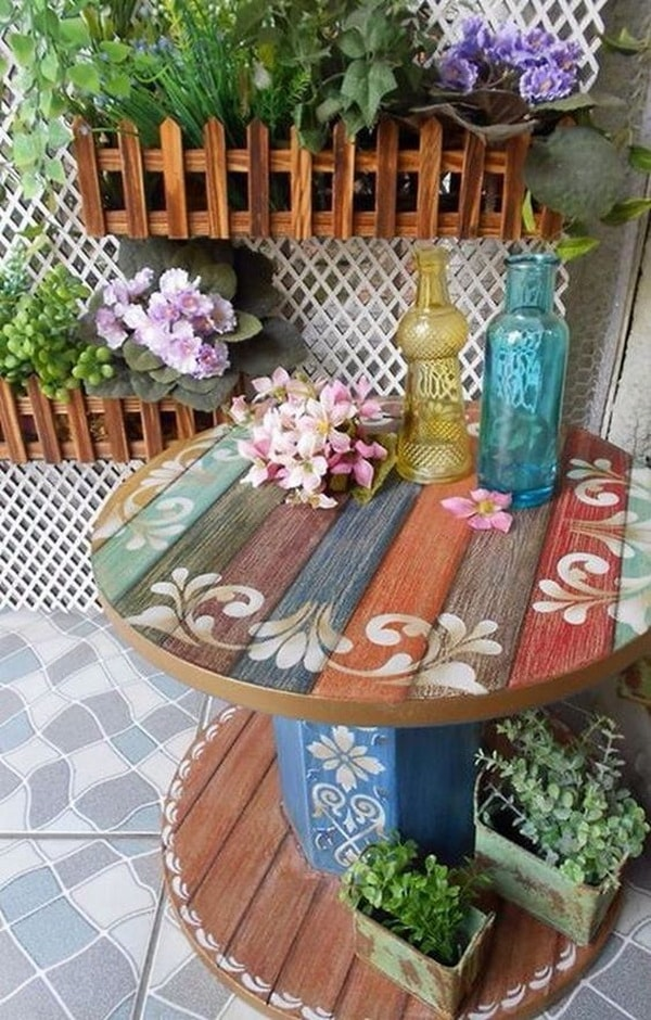 Auxiliary table with recycled cable reel