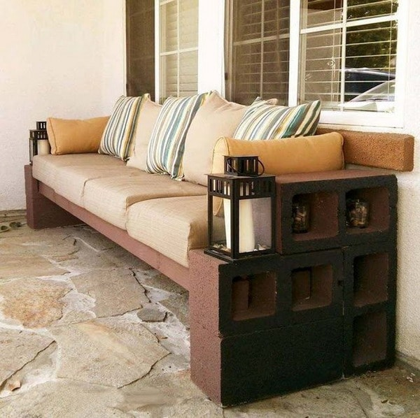 Sofa with cement blocks and wood strips