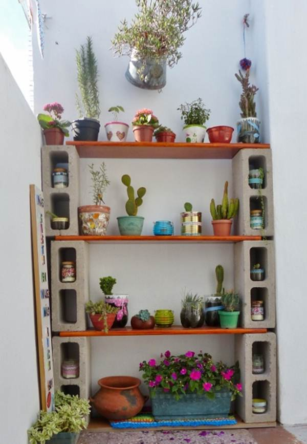 Shelving with cement blocks
