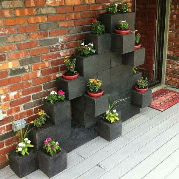 Vertical garden with concrete blocks