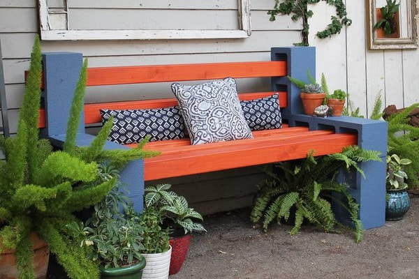 Bench with cement blocks and wood strips