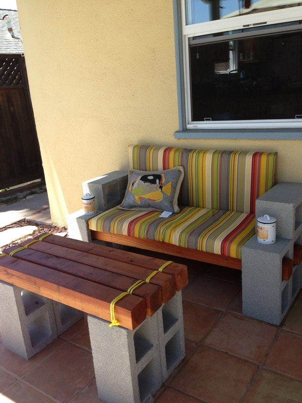 Outdoor furniture with cement blocks