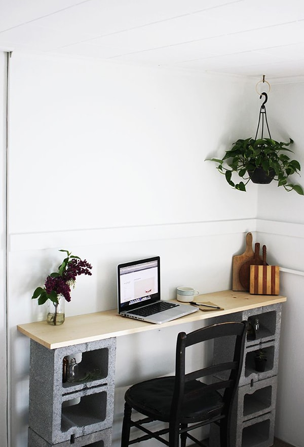 Desk with cement blocks