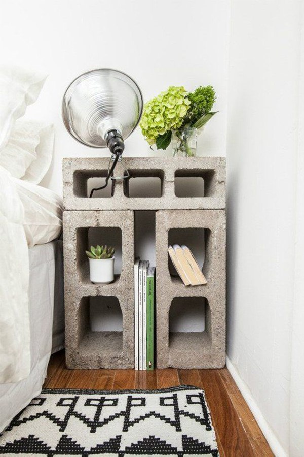 Bedside table made of cement blocks