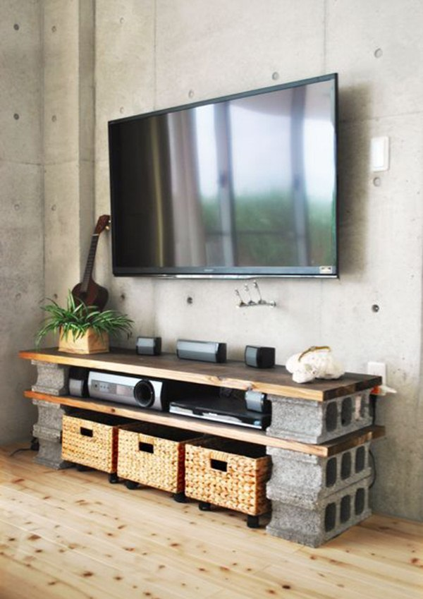 TV furniture with cement blocks
