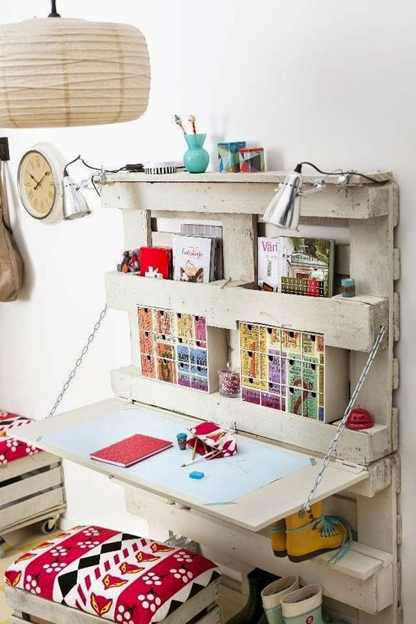 Study space with wooden pallets