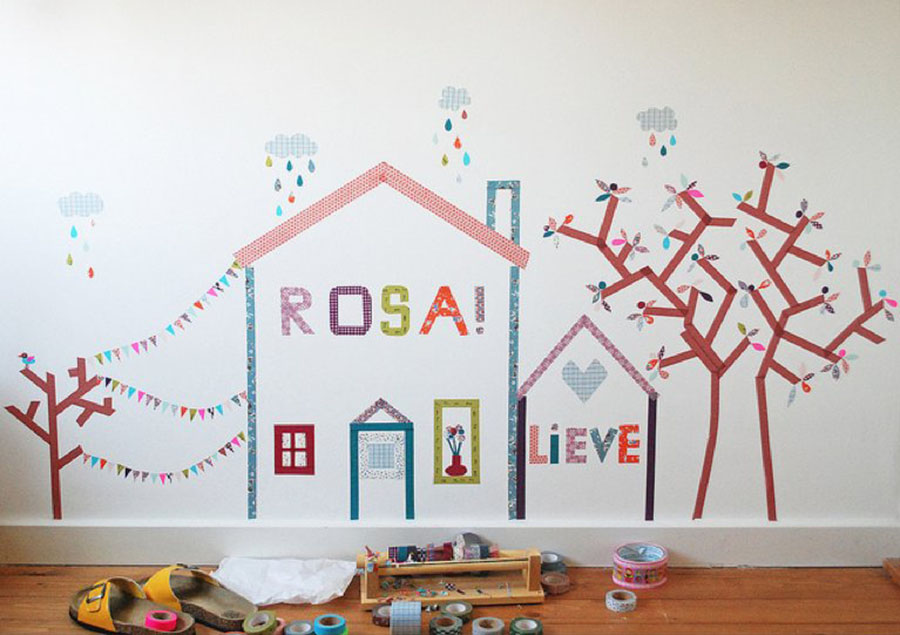 children's rooms with washi tape