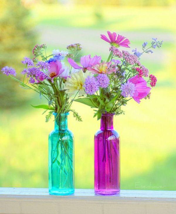 Colored glass bottles like vases