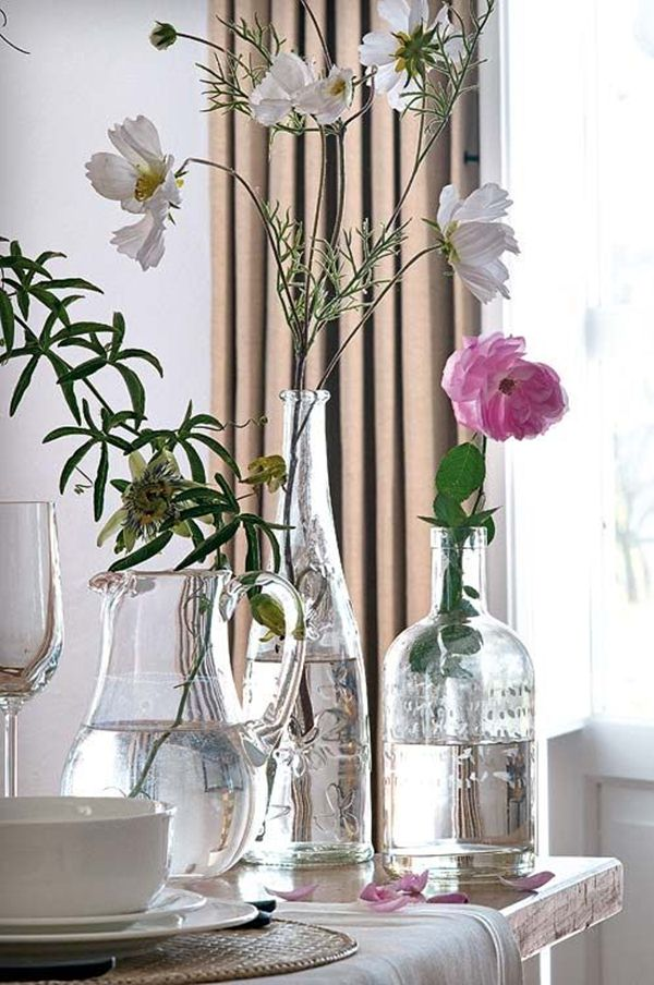 Decorate with glass bottles and flowers