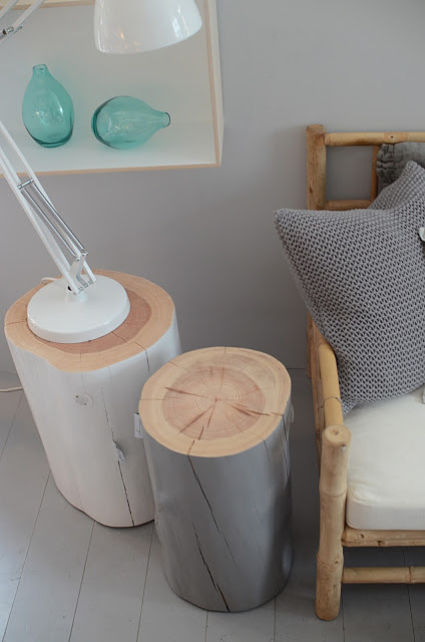 Side tables with recycled logs