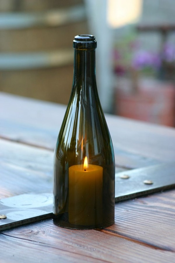 Candleholder with glass bottle