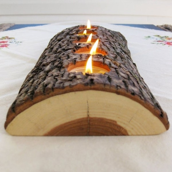 Rustic candleholder with a trunk