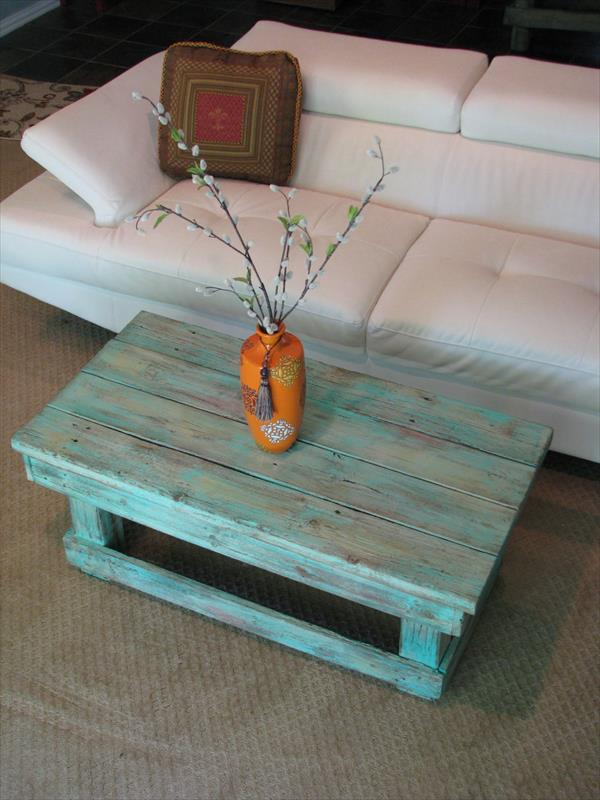 Vintage style coffee table with pallets