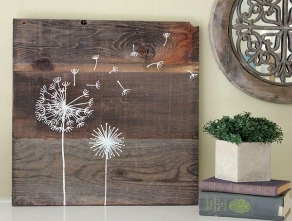 Dandelion, wooden frame