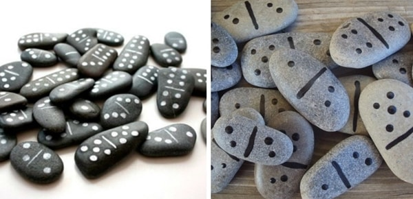 Dominoes made of stones
