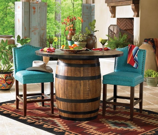 Table with wooden barrel