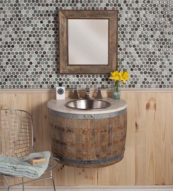 Washbasin with wooden barrel