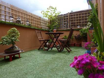 Artificial turf on a terrace