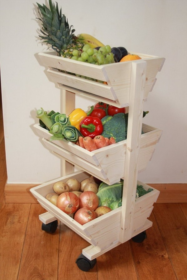 Fruit crates with recycled wooden pallets