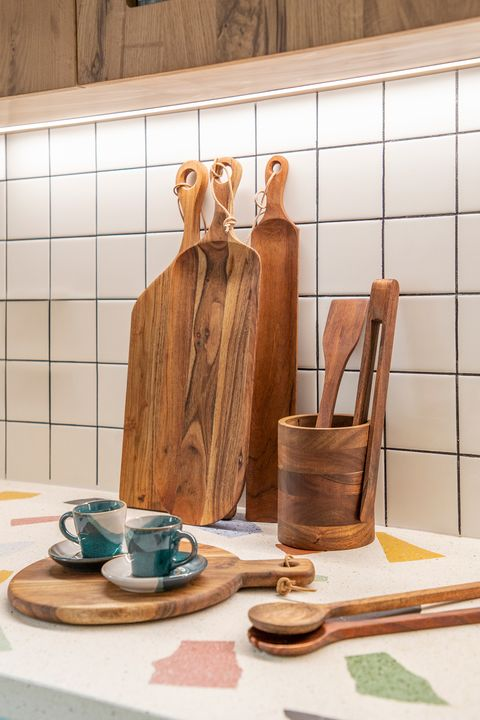 cutting boards and wooden accessories in the kitchen