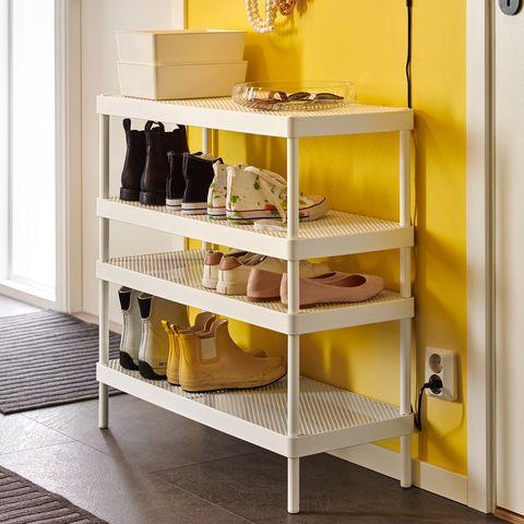 white shoemaker with open shelves