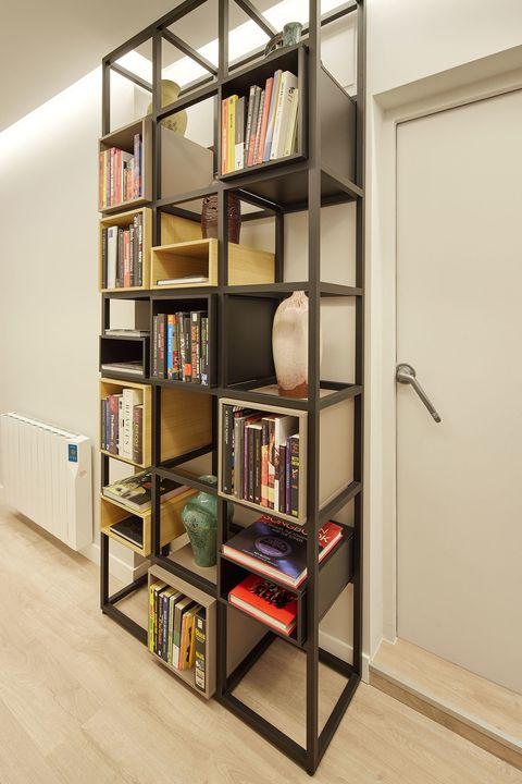 open shelves of black forging
