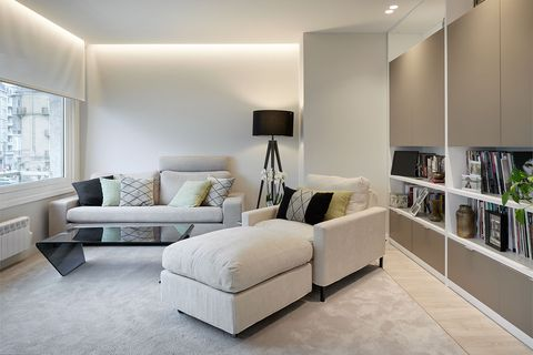 modern design lounge with bookcase and sofas in grey tones