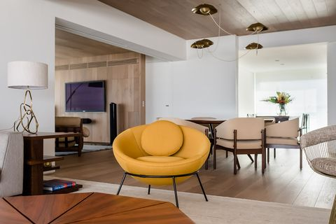 mustard-coloured contemporary design armchair